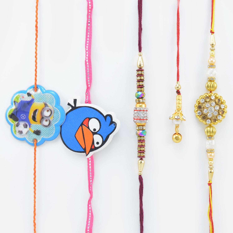 Minions and Angry Bird Rakhi for Kid with 1 Lumba and 2 Brothers Rakhi