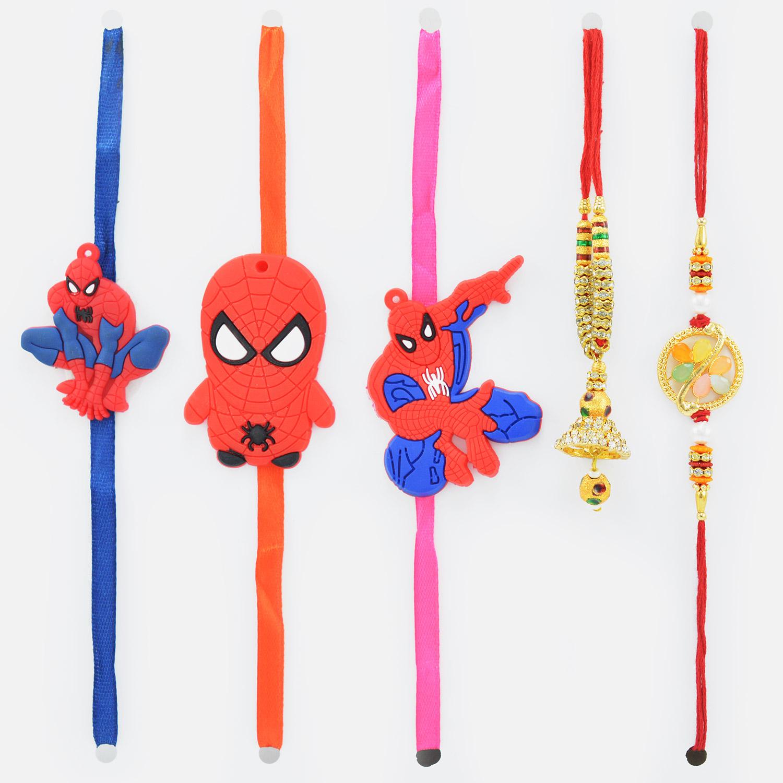 Impressive Golden Bhaiya Bhabhi Rakhi Pair with 3 Spider Man Kids Rakhis