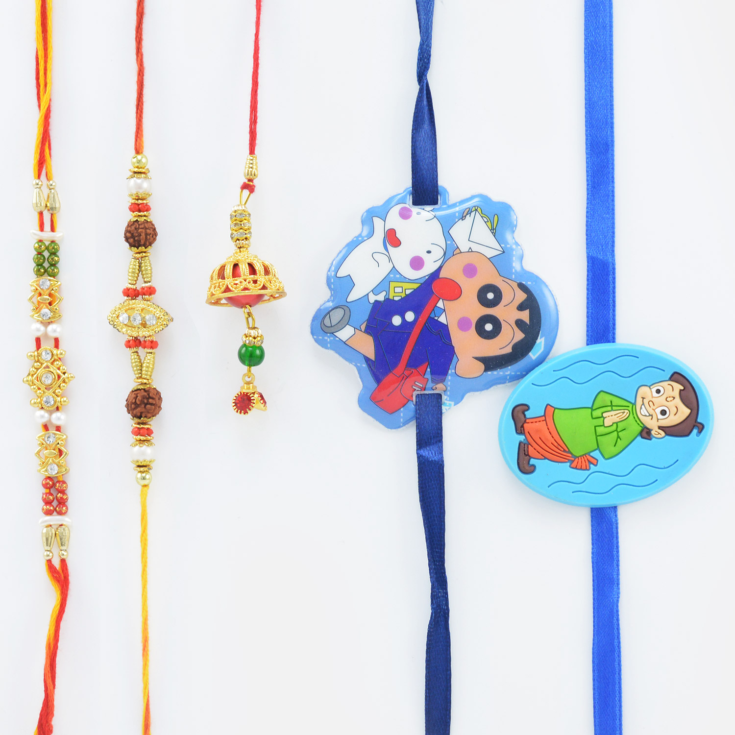 2 Brothers Rakhi with 1 Lumba and 2 Shinchain and Bheem Kid Rakhis