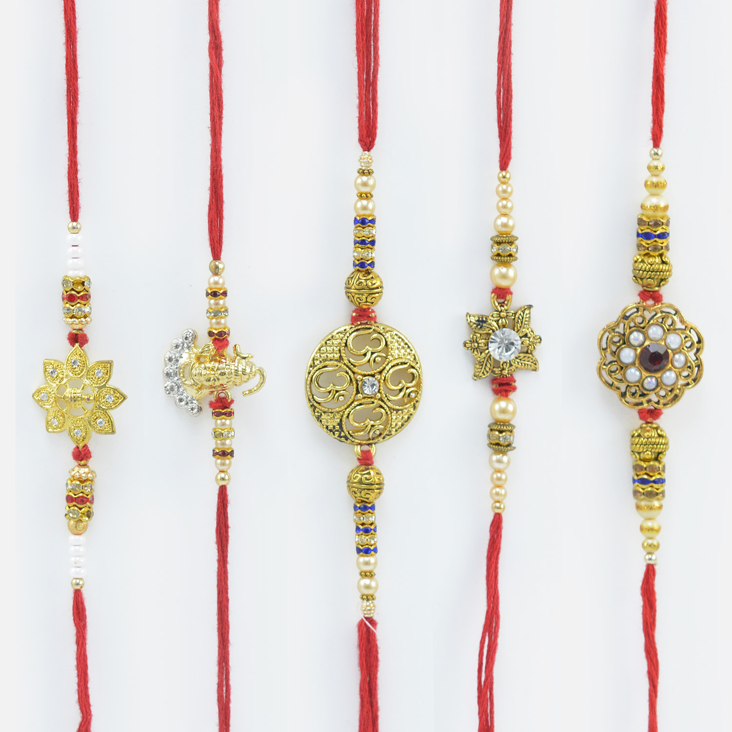 Golden and Peral Rakhi for Brother Set of 5 Beads Rakhi