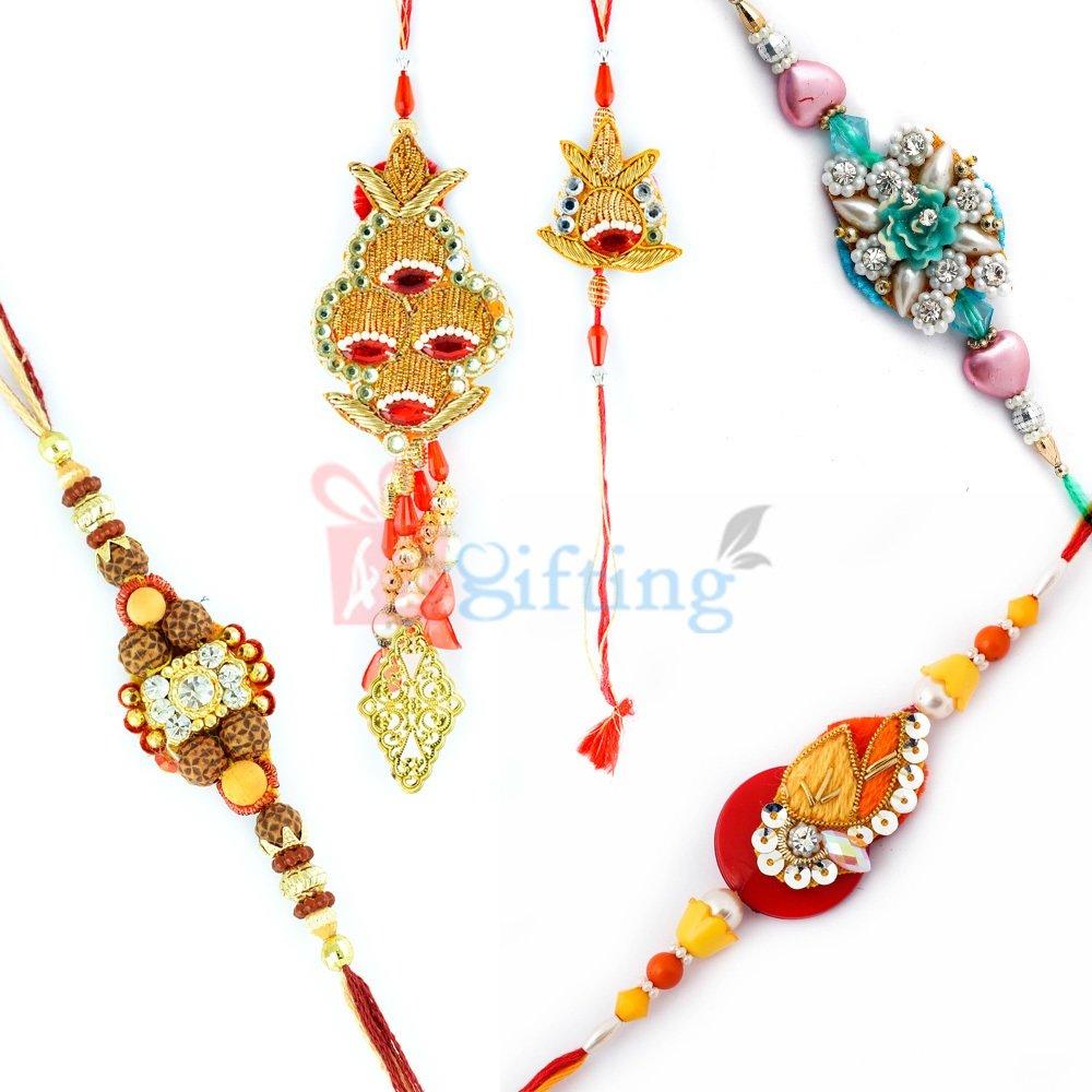 Confounding Five Rakhi Set Special Design Rakhis