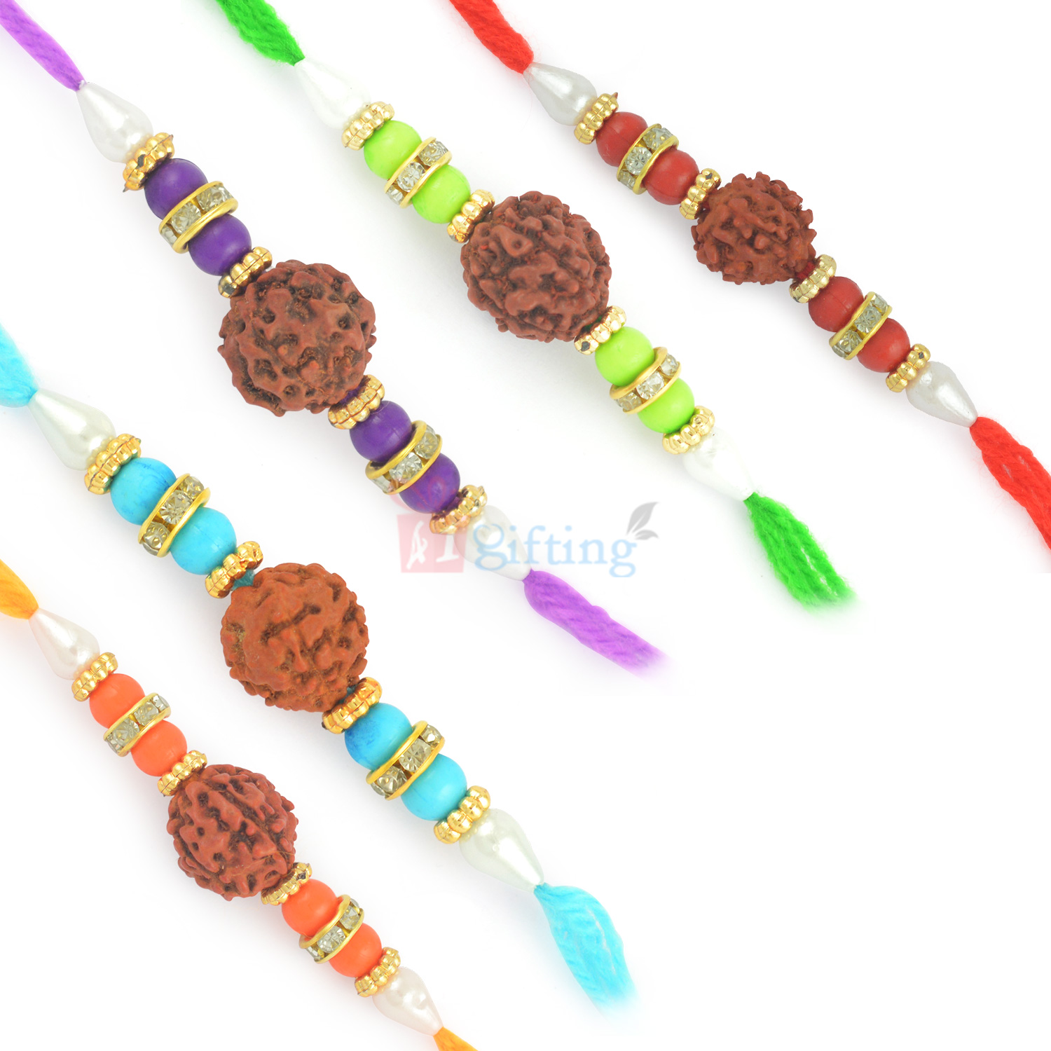 Rudraksha Combo Set of 5 Rakhis