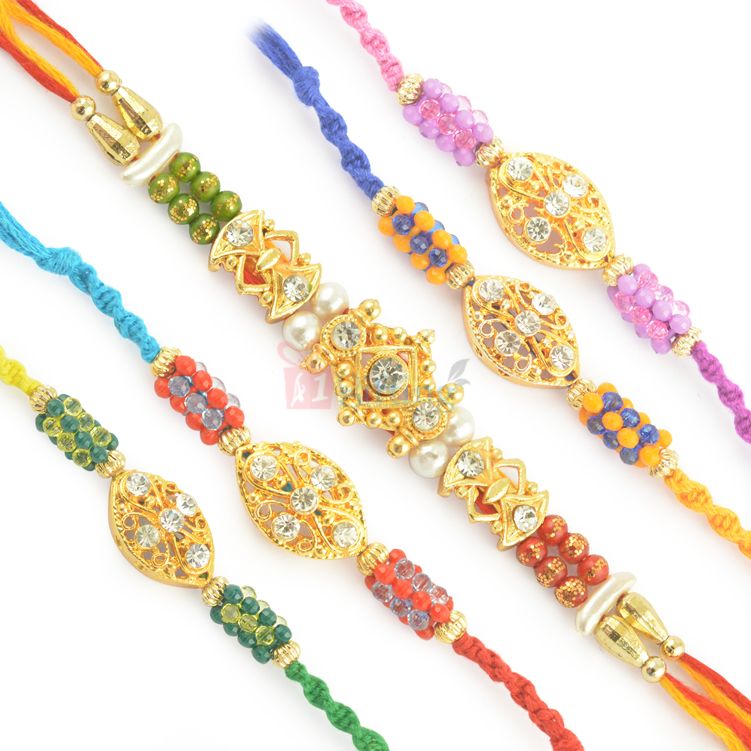 Twinkling Diamond Combo set of 5 Rakhis