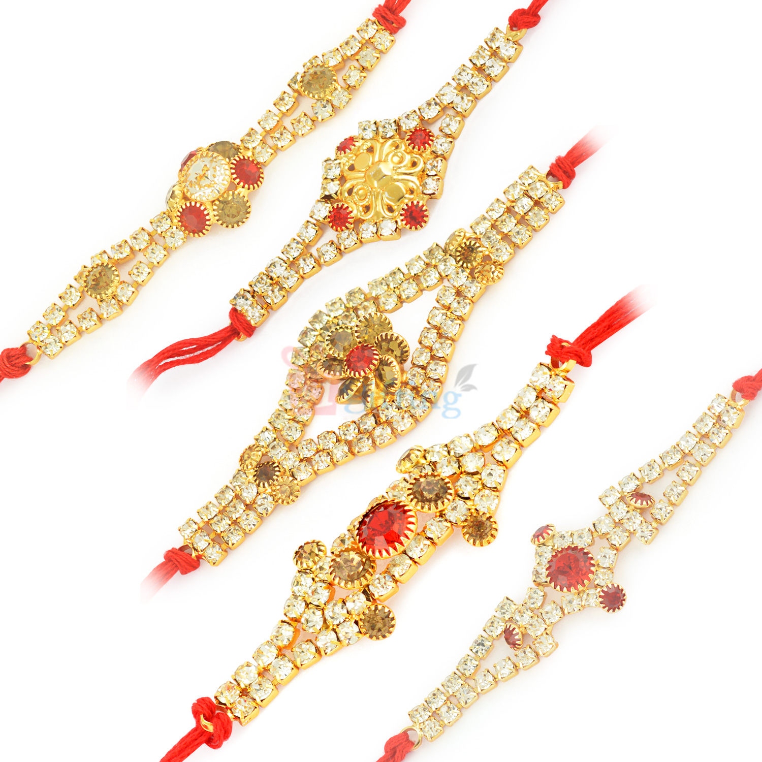 Glace Diamond Combo set of 5 Rakhis