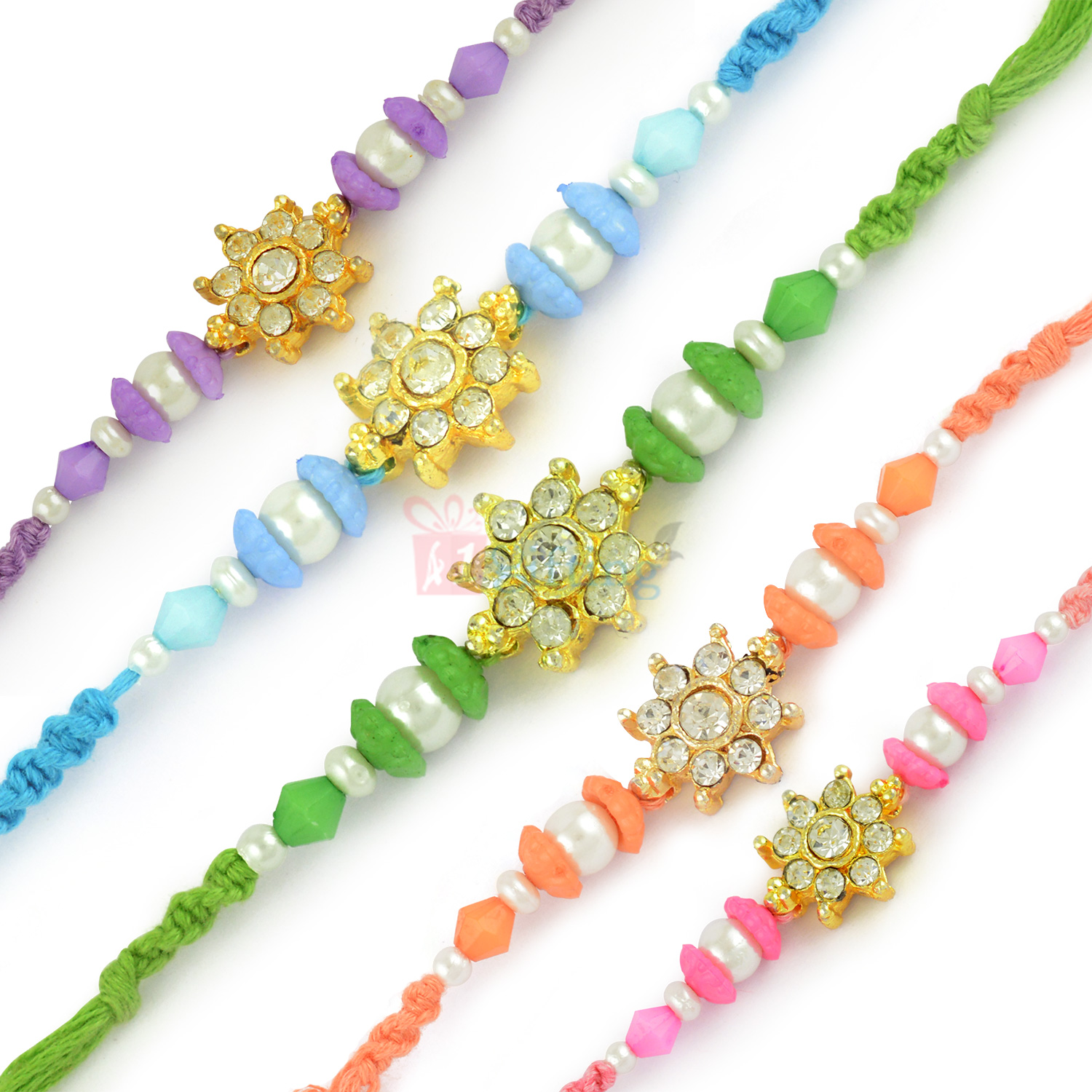 Sparkling Multi Colour Diamond 5 Rakhis