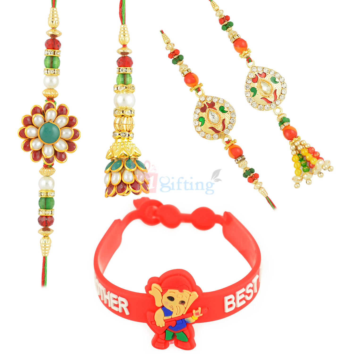 Sparkling 5 Rakhi Set with Lord Ganesha and Pair Rakhi