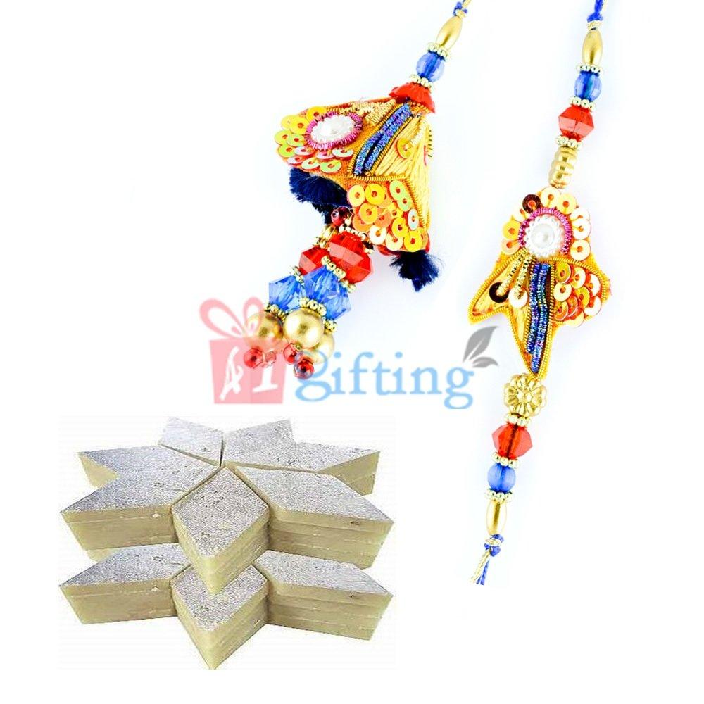 Crystal Cutting Beads Zardosi Fancy Pair Rakhis with Kaju Katli