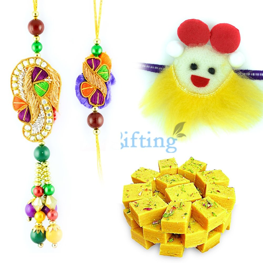 Colorful Kundan Beads Rakhi Pair with Kids Rakhi and Soan Papdi