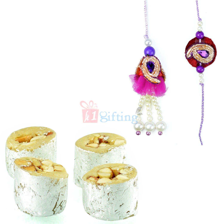 Blue Tilak Zari Rakhi Pair with Kaju Honey Due