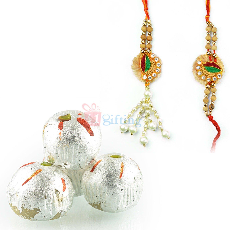 Diamond Pearl Pair Rakhi with Kaju Laddu