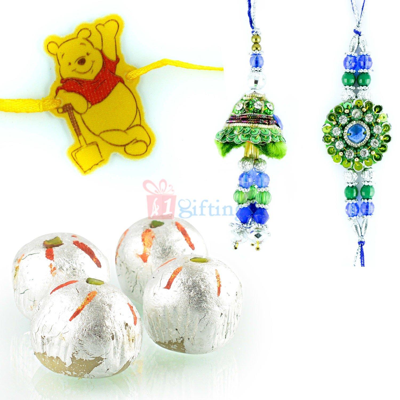 Blue Green Zari Diamond Pair with Pooh Kids Rakhi and Kaju Laddu