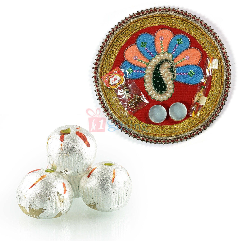 Pearl Leaf Pooja Thali with Kaju Laddu