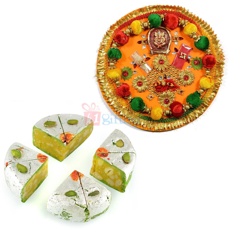 Ganesha Paper Meshi Pooja Thali and Kaju Diamond Cake