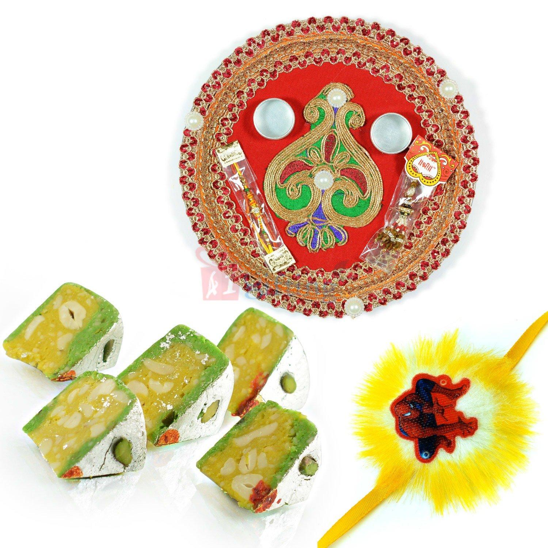 Pooja Thali Spidermen Rakhi with Kaju Diamond Cake
