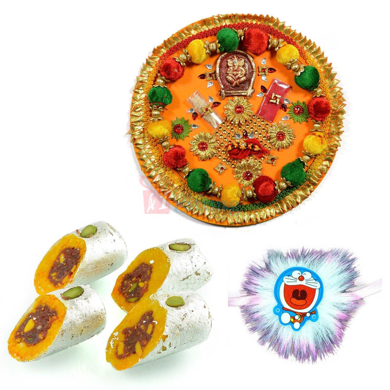 Gorgious Pooja Thali Kids Rakhi and Sweet Rakhi Hamper