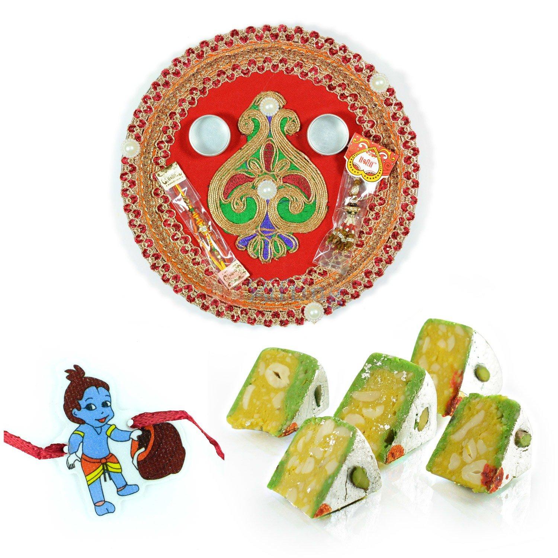 Rakhi Pooja Thali Sweets and Kids Krishna Rakhi