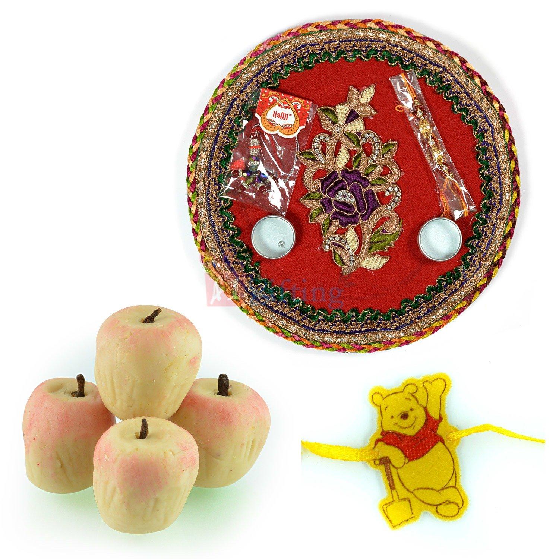 Pooh Kids Rakhi with Pooja Thali and Apple Kaju Sweets
