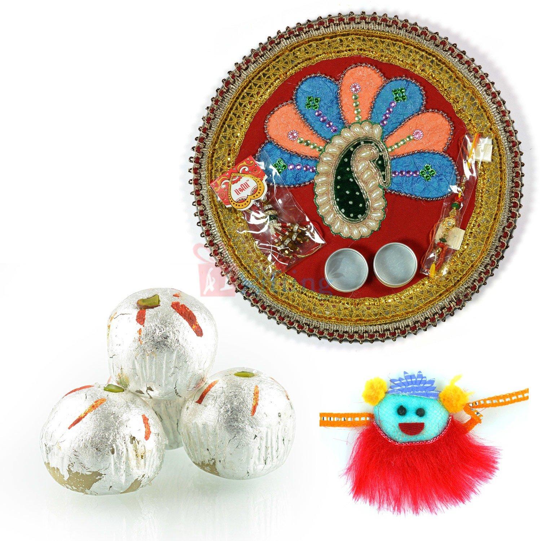 Pooja Thali with Kids Rakhi and Sweets Rakhi Gift Hamper