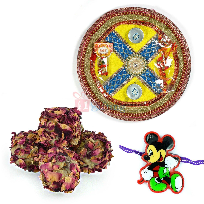Pooja Thali Sweet with Kids Rakhi Gift Hamper