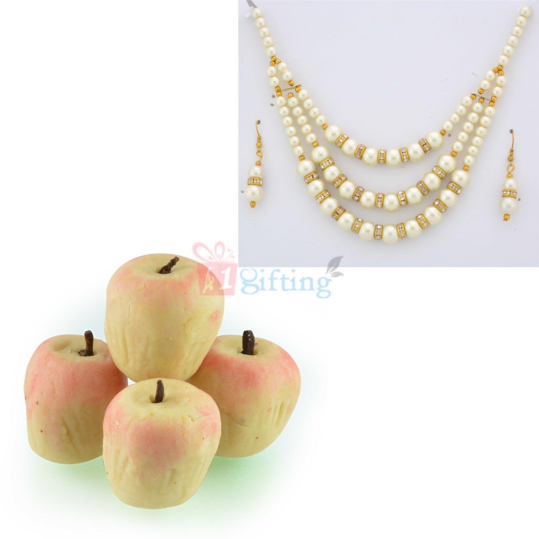Pearl Diamond Necklace Earings with Kaju Apple