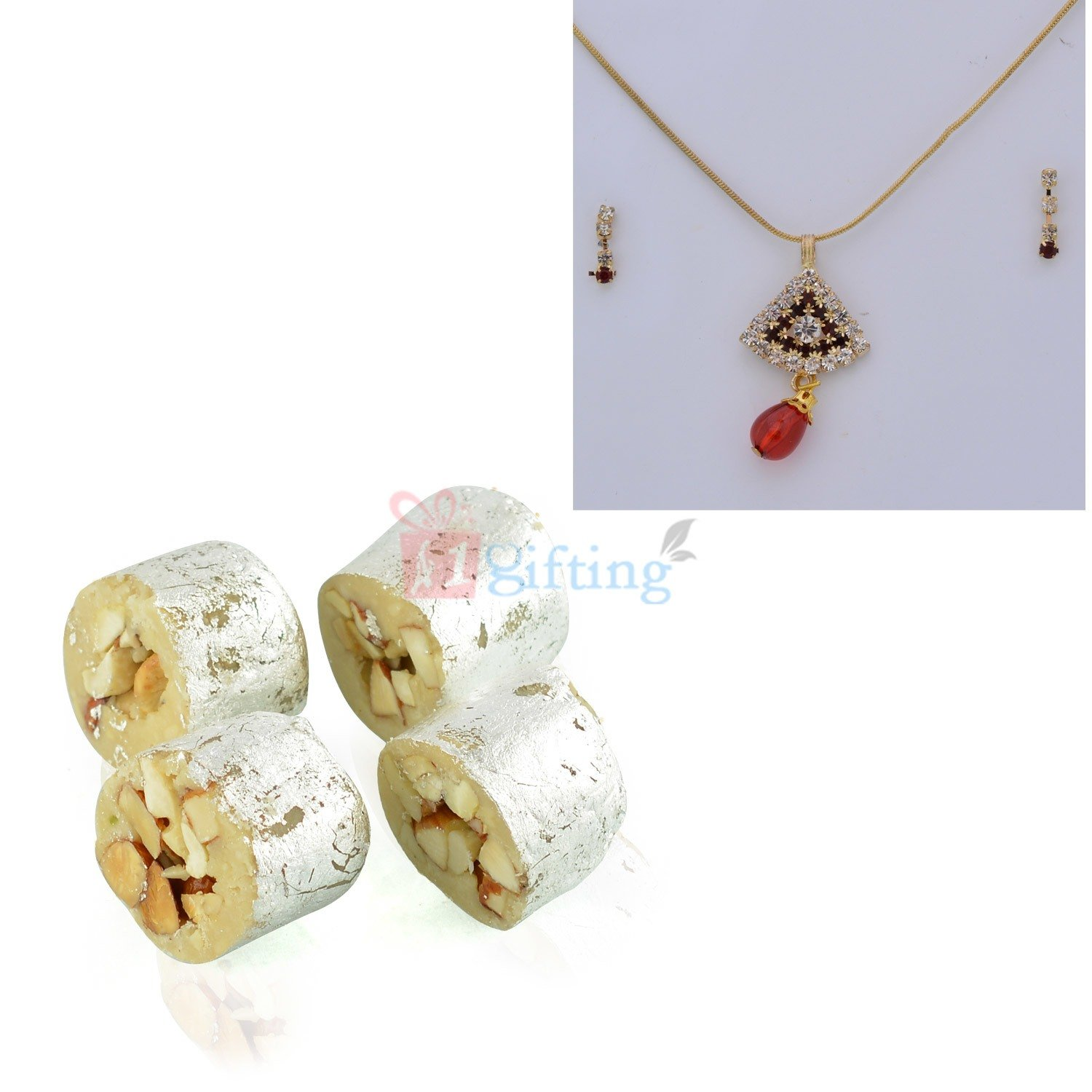 Diamond Locket Earings with Chain and Sweet Gift
