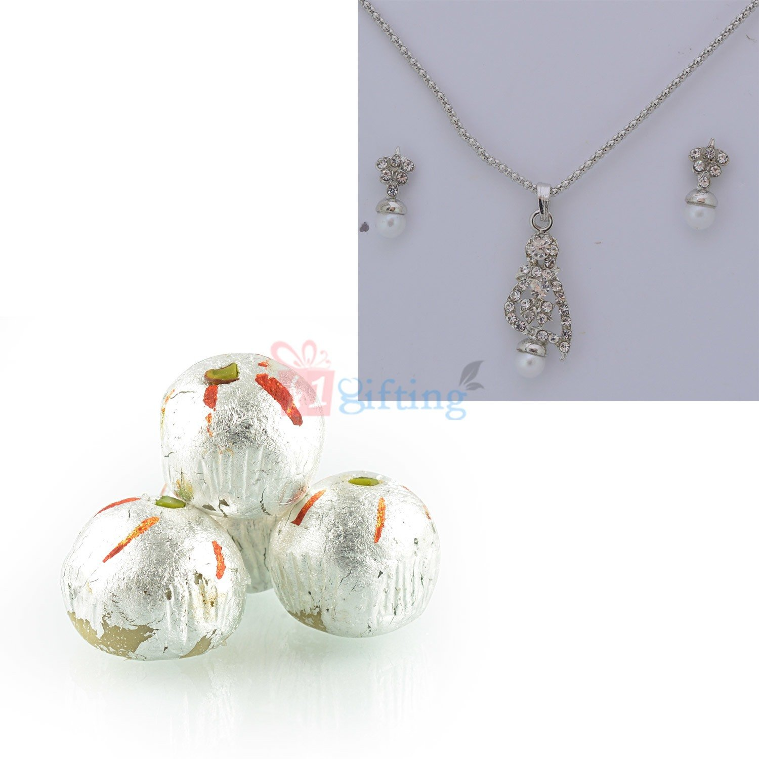 Necklace with Earing and Kaju Laddu Gift Hamper