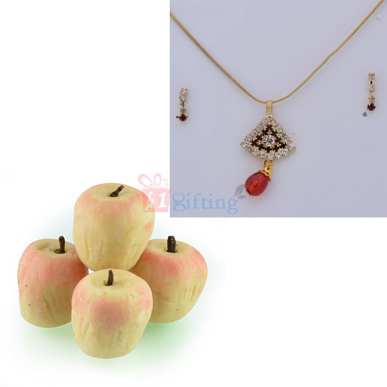 Diamond Triangle Locket Set with Kaju Apple