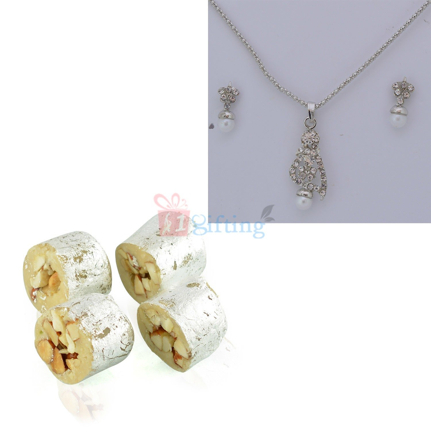 Silver Plated Jewellery Set with Sweet Hamper