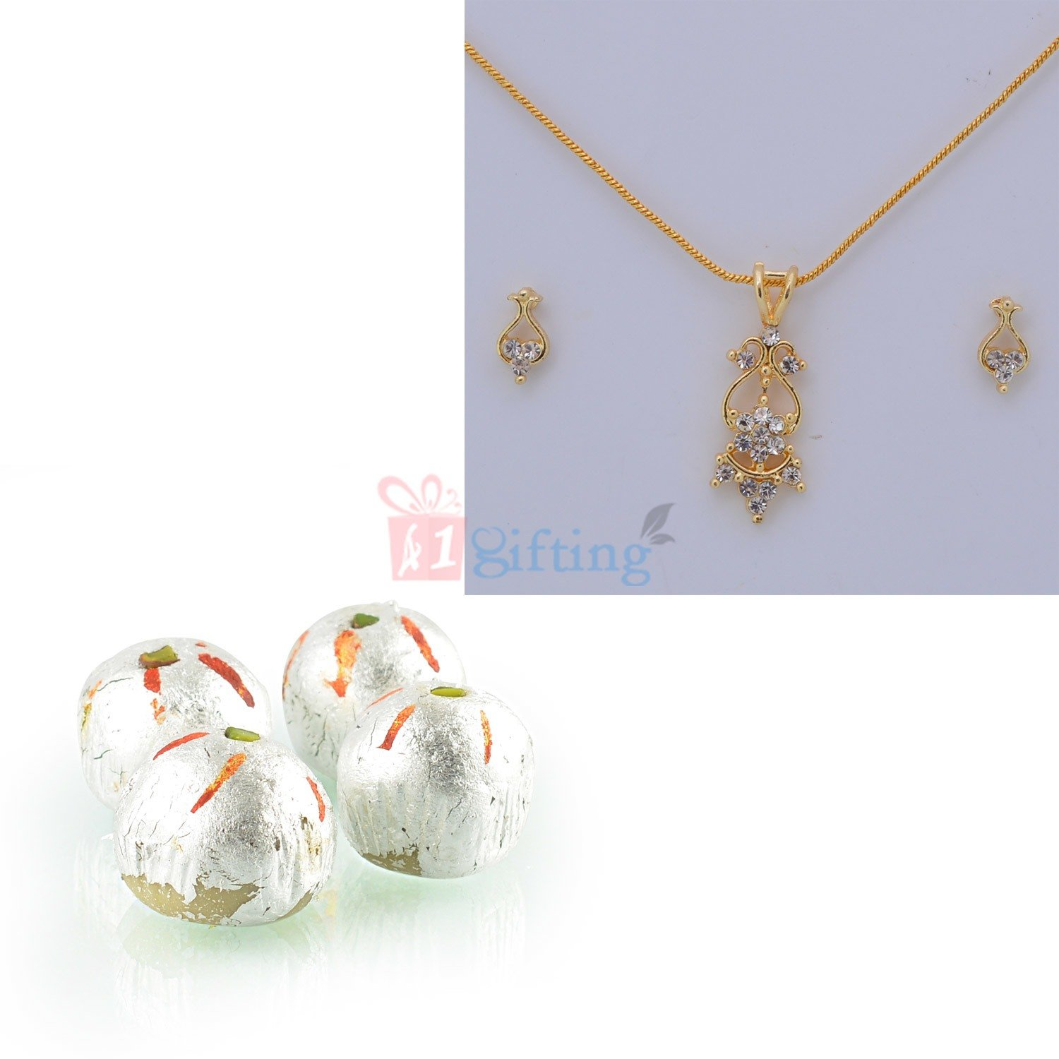 Golden Diamond Jewelry Set with Kaju Laddu