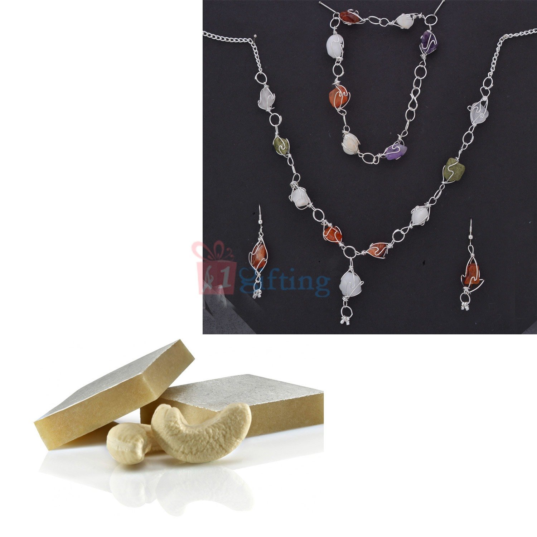 Multi Color Stone Fancy Jewellery with Kaju Katli