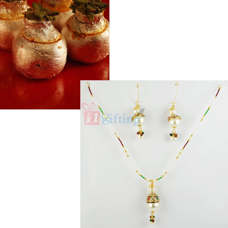Big Pearl Jewellery with Kaju Kalash Sweet Gift