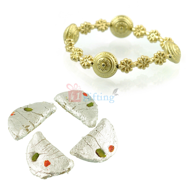 Golden Bracelet with Kaju Gujia Gift