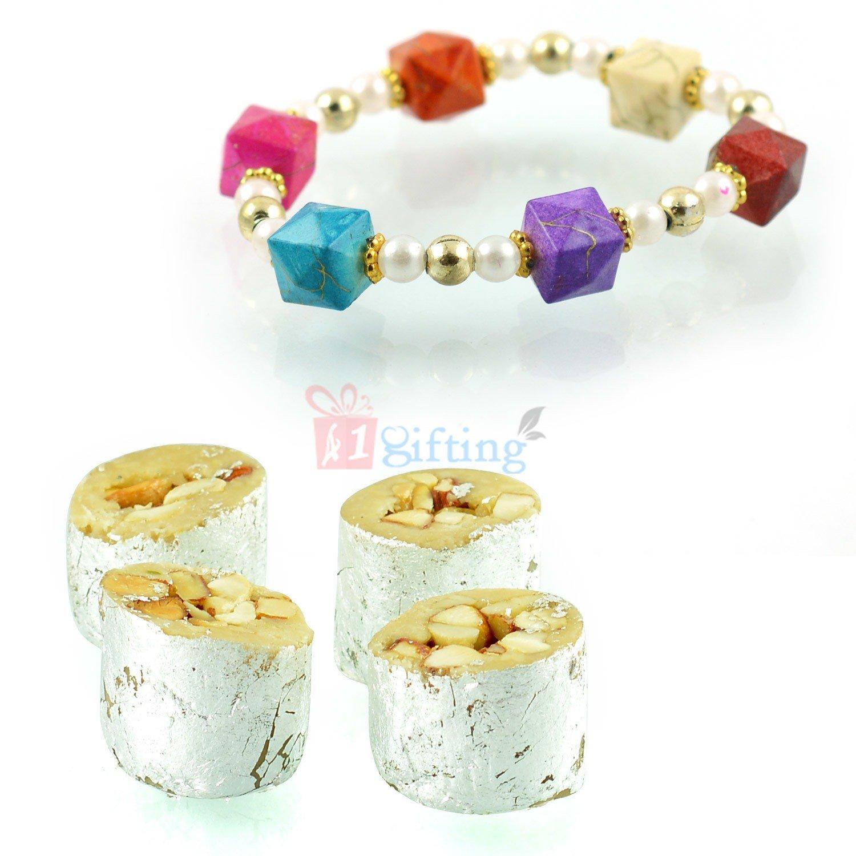 Pearl Dice Bracelet with Kaju Honey Due Gift
