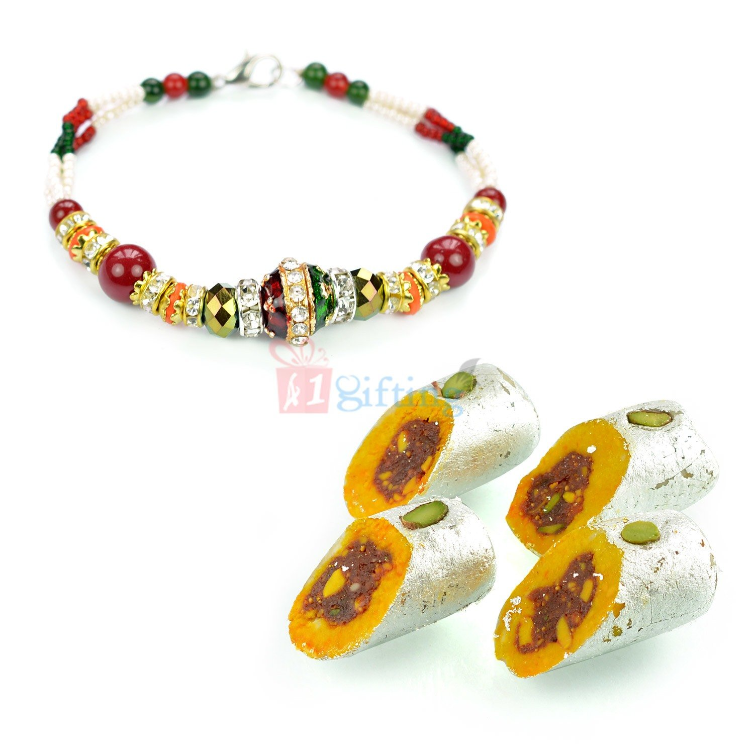 Beautiful Kundan Meena Bracelet with Sweet Gift