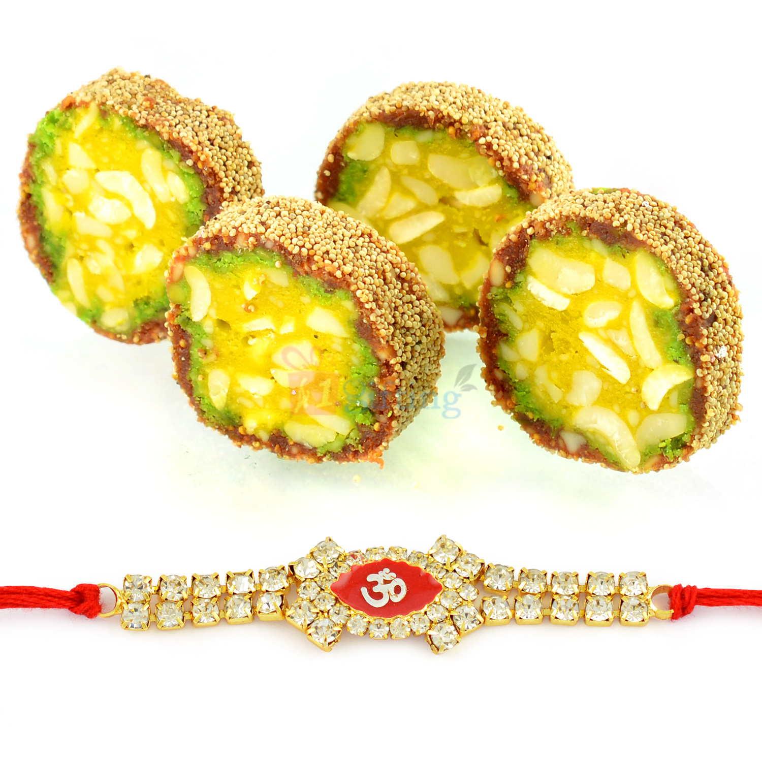 Spendid Auspicious Om Rakhi with Roll of Anjeer King Mithai