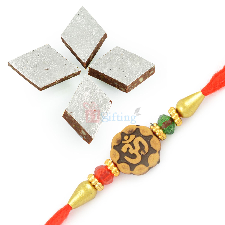 Amazing Auspicious Rakhi with Appetizing Kaju Chocolate Barfi