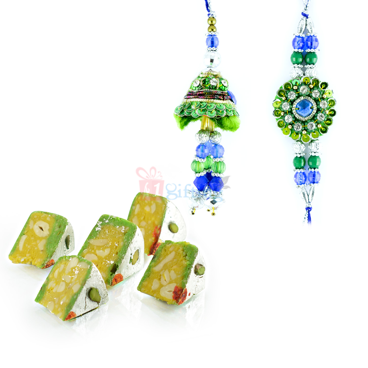 Green Theme Beads Pair Rakhi with Kaju Diamond Cake