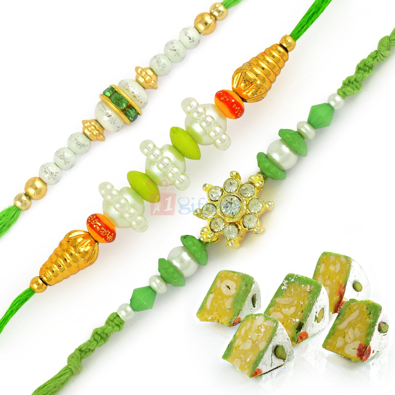 Beautiful Pearl Rakhi Set of 3 and Kaju Raj Bahar Sweet Hamper