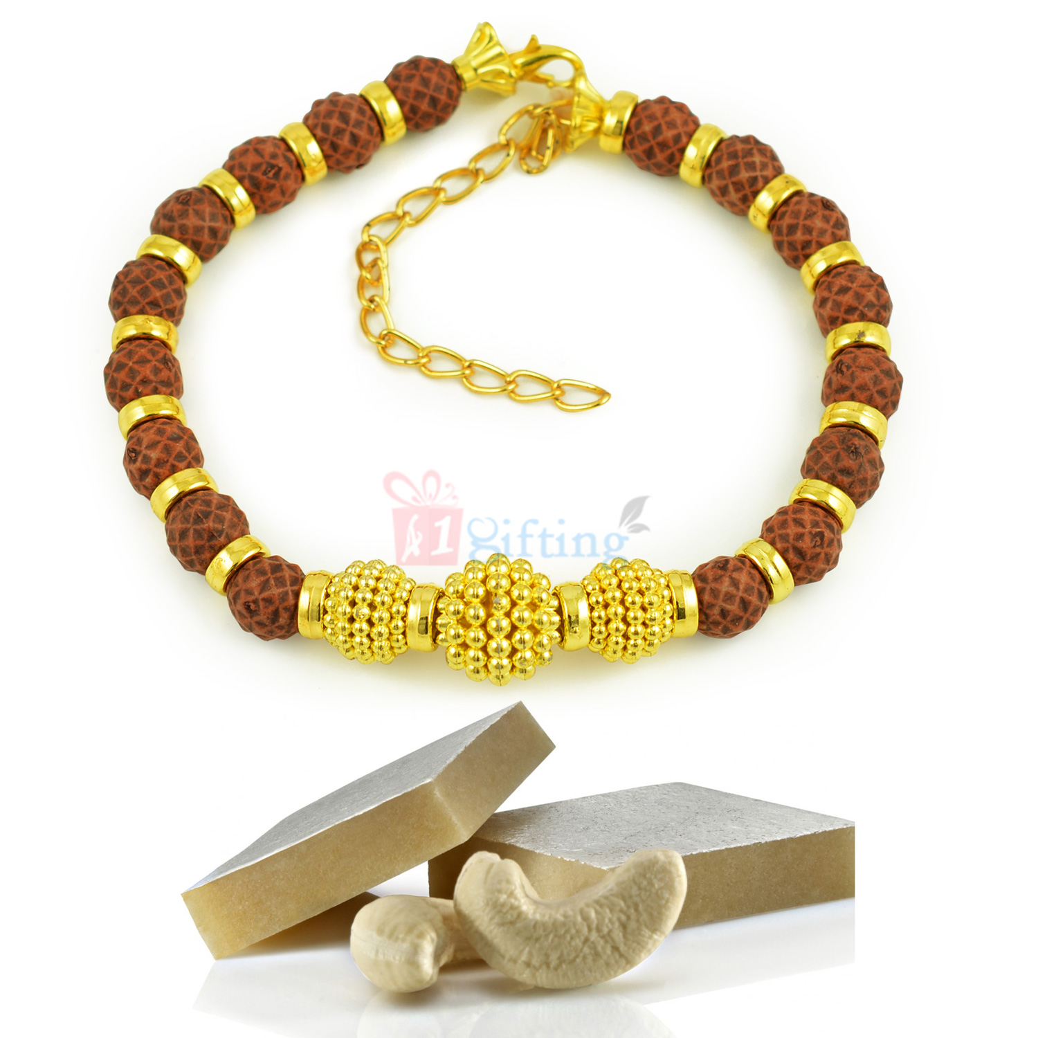Beautiful Rudraksha Golden Bracelet with Healthy Kaju Katli Sweet