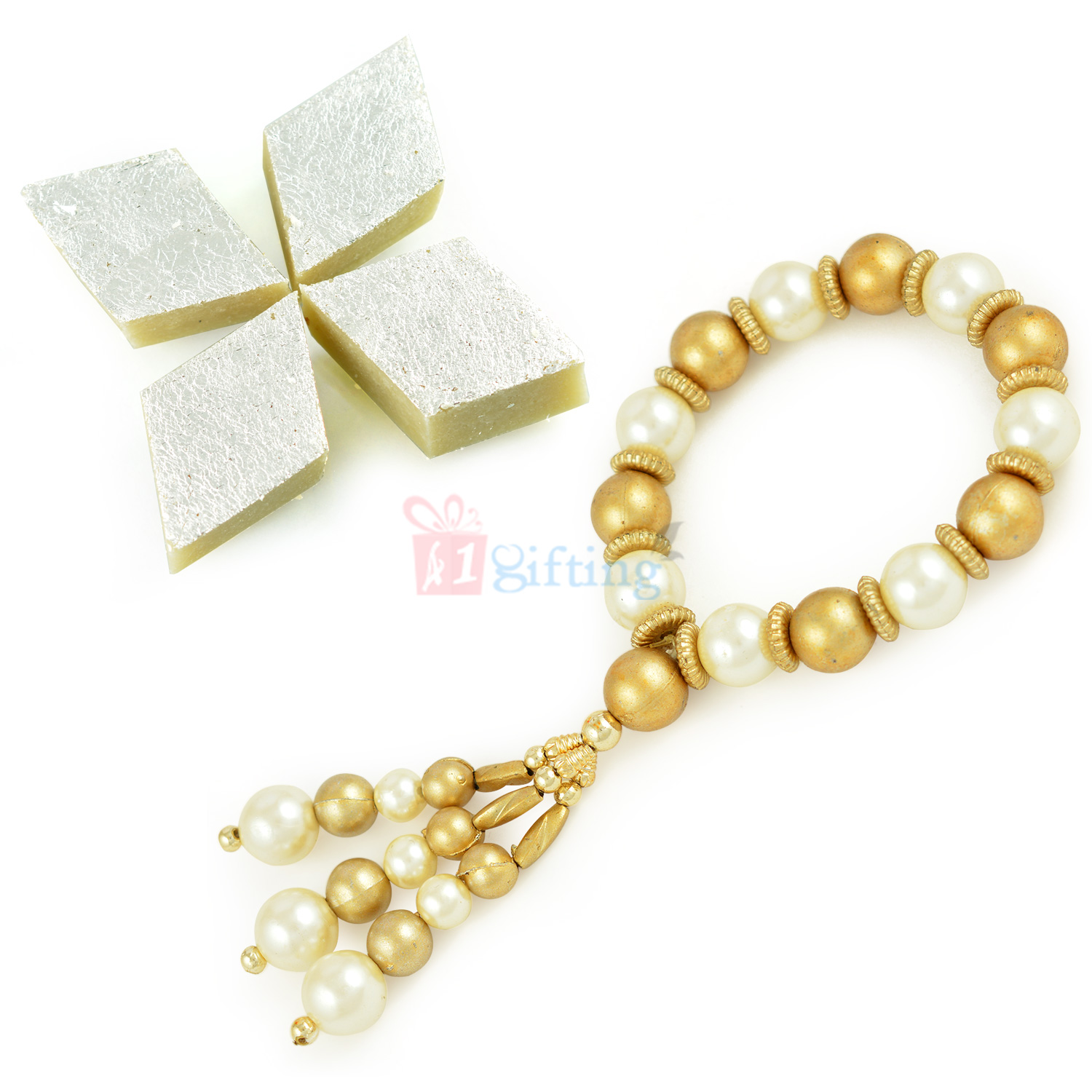 Amazing Pearl and Golden Beads Ladies Bracelet with Sweet Hamper