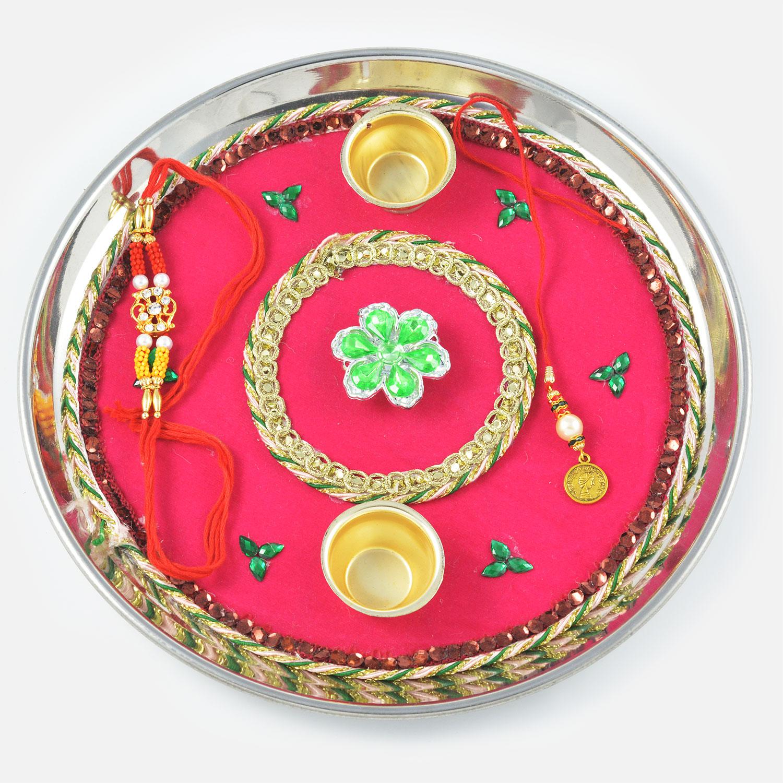 Designed Green Kundan Rakhi Pooja Thali
