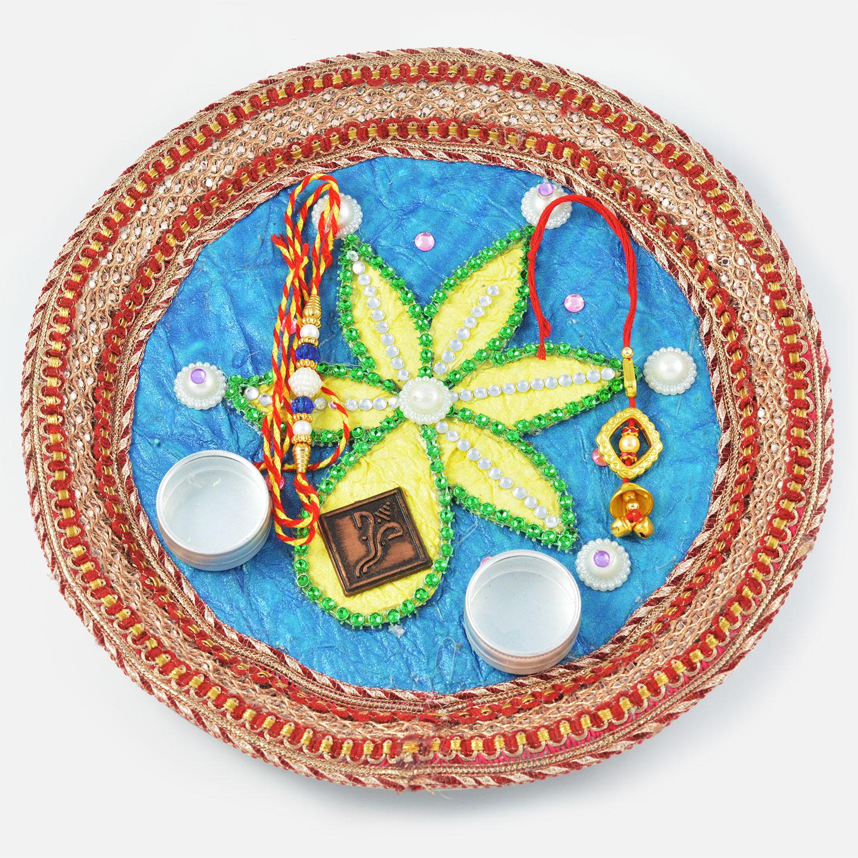 Simple Flower Rakhi Pooja Thali with Ganesha