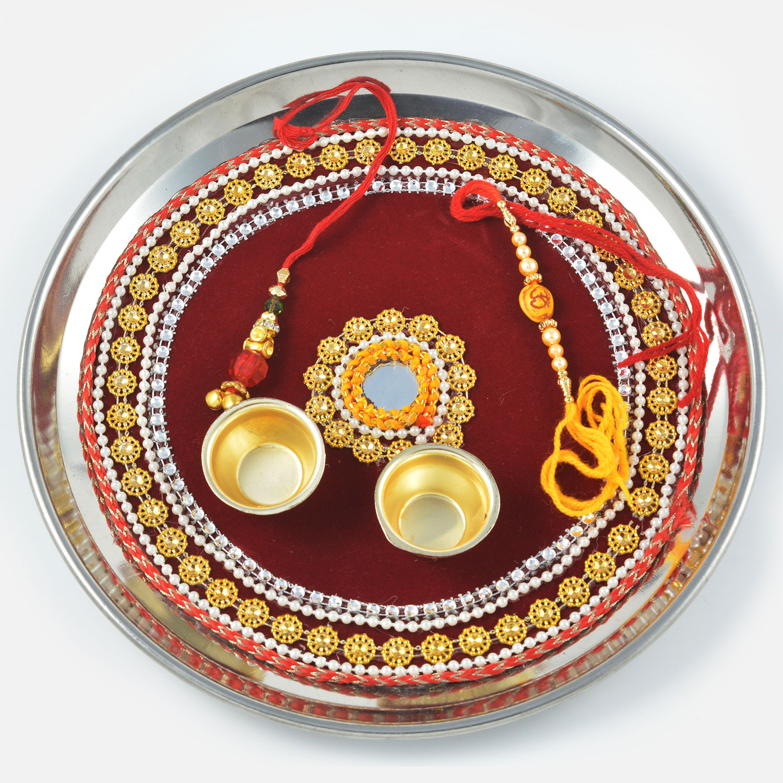 Pearl and Golden Flower Bordered Rakhi Pooja Thali