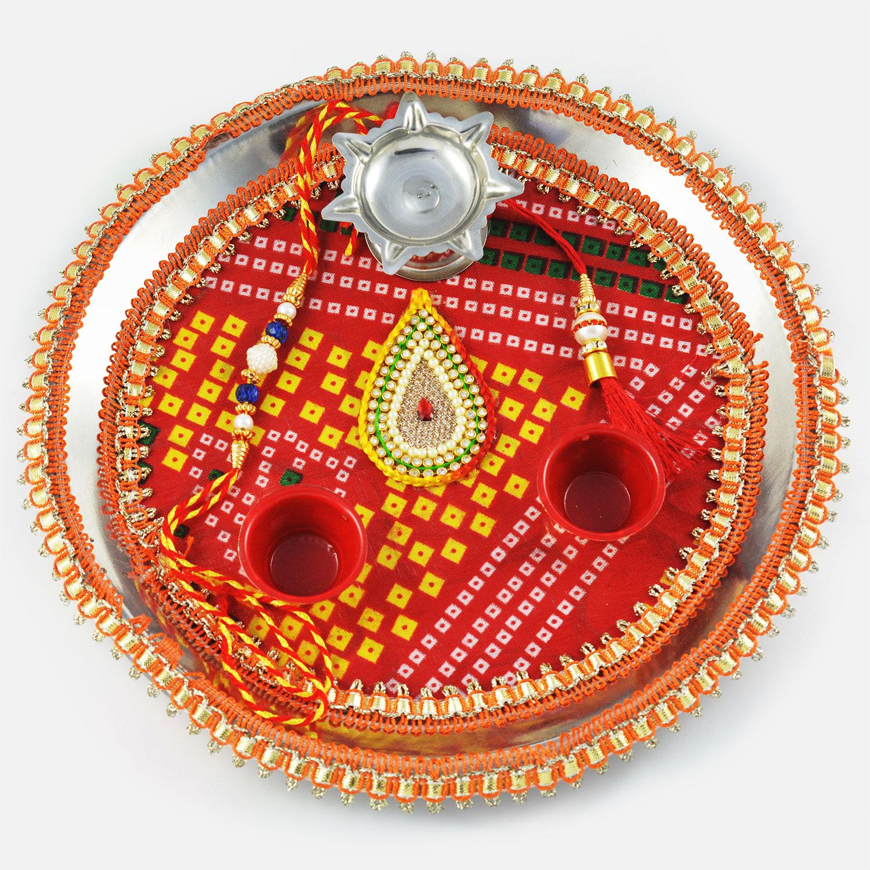 Traditional Chunari Zardosi Kundan Rakhi Pooja Thali