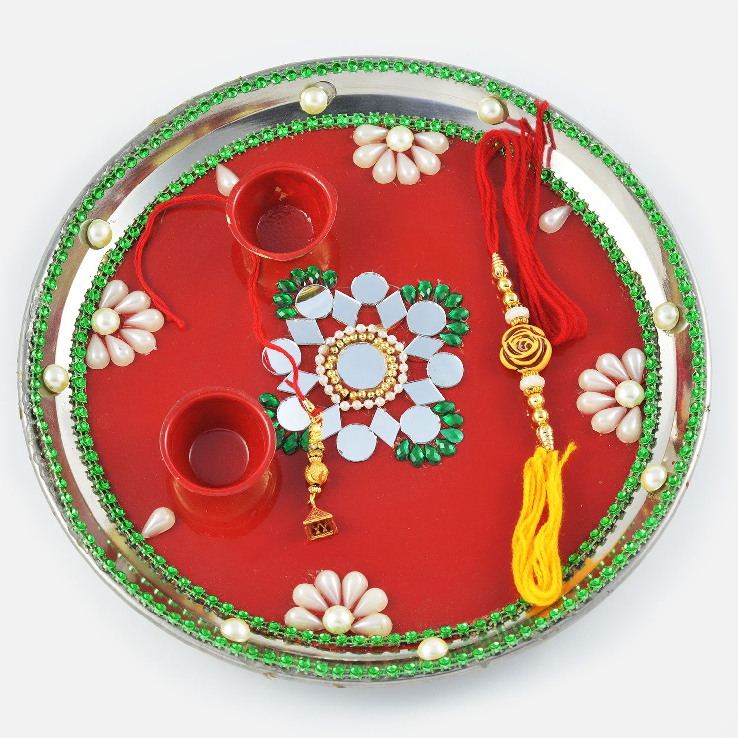 Elegant Pearl and Mirror Flower Designed Rakhi  Pooja Thali