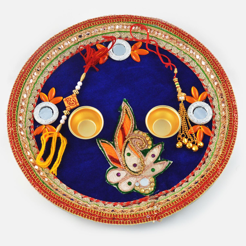 Designer Velvet Gota Leaf Rakhi Pooja Thali