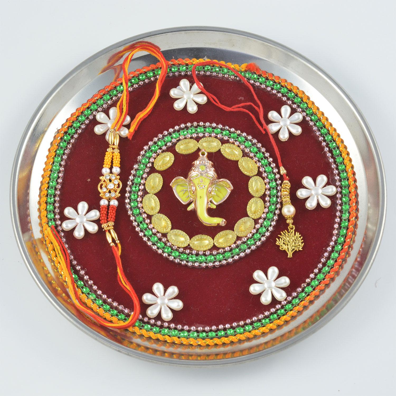 Gajavakra Green and Silver Zardozi Worked Rakhi Pooja Thali