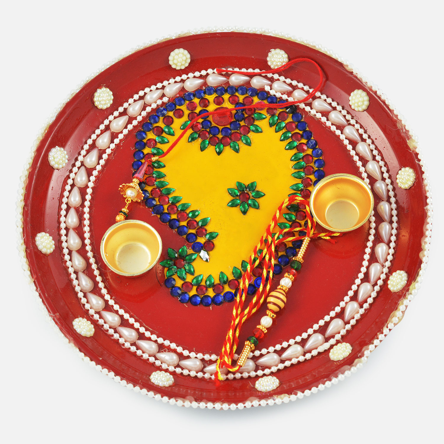 Painted Multi-Colored Kundan and Pearl Rakhi Pooja Thali