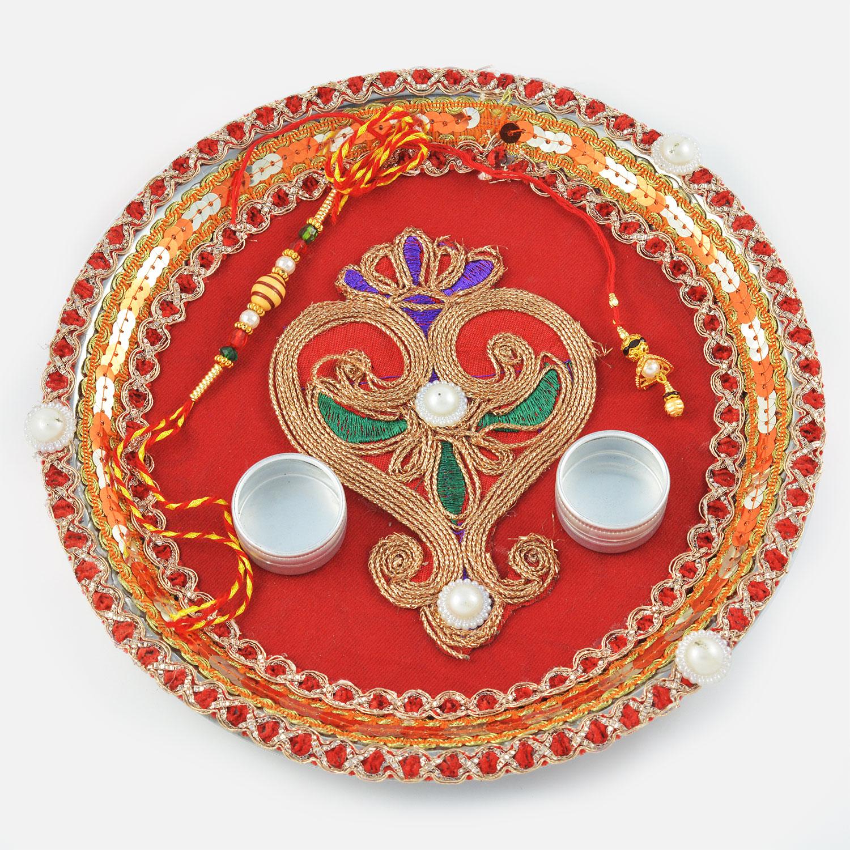 Designer Red Velvet Centered Leaf Zardozi Work Rakhi Pooja Thali
