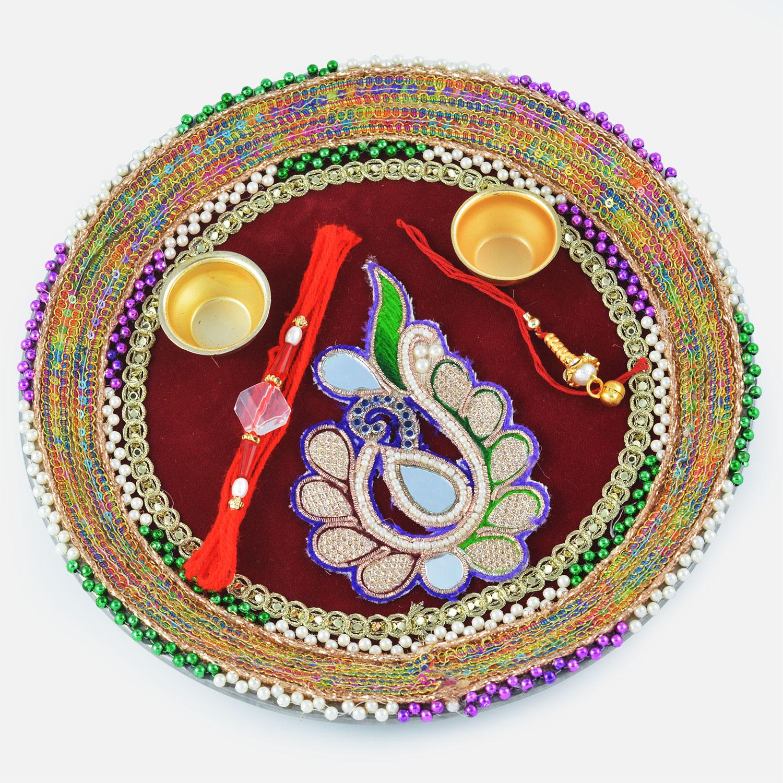 Zardozi Mirror Leaf with Multi-Color Gota Designer Rakhi Pooja Thali